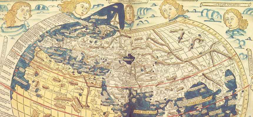 Woodcut of Ptolemy map by Johane Schnitzer, Ulm: Leinhart Holle, 1482